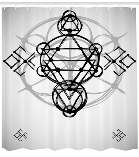 Details about  /Gray Shower Curtain Spiritual Sketch Print for Bathroom