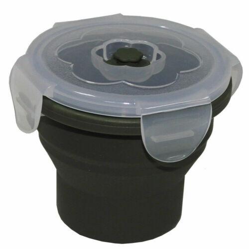 MFH Lunchbox pieghevole 240 ml verde oliva con coperchio in silicone CAMPEGGIO BARATTOLO Snackbox NUOVO