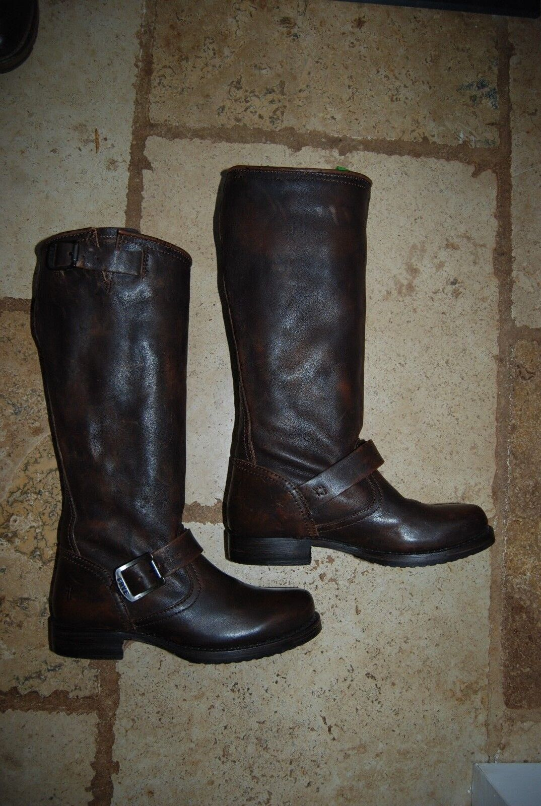 Dark Brown Leather FRYE Veronica Engineer Style Tall Boots 6 B