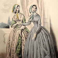 LE FOLLET 1845 Hand-Colored Fashion Plate #1257 Pretty Dresses NICE DETAIL Print