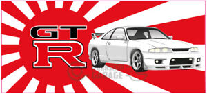New-Collectable-Rising-Sun-Nissan-Skyline-GTR-R33-white-XXL-SIZE