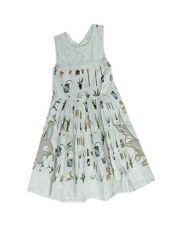 NEXT girls beautiful cotton garden print dress applique rabbits lace baby NEW