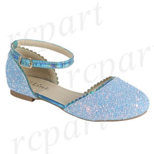 New girl/'s kids glitter formal dress wedding shoes Blue buckle closure wedding