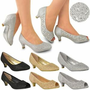 WOMENS LADIES LOW KITTEN HEELS COURT SHOES OPEN TOE WEDDING ...