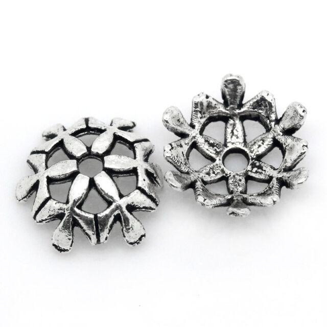 "100PCs Beads Caps Flower Silver Tone 10mmx10mm(3/8""x3/8"")"