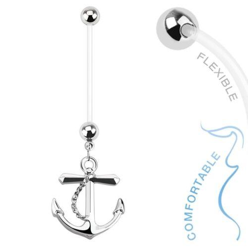Maternity Belly Ring 14g Dangle Anchor Design Flexible Pregnancy Barbell