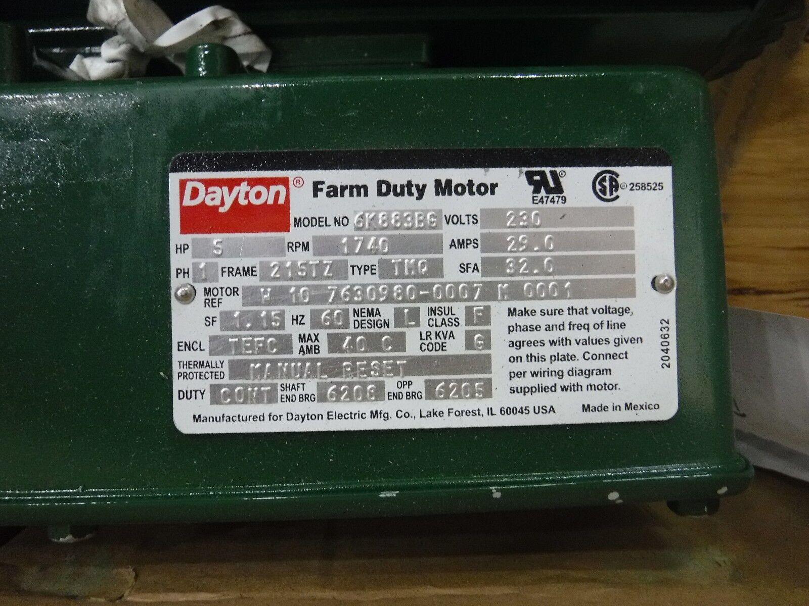 Dayton 6K883 Farm Duty MTR Cap Start TEFC 5hp 1725rpm on