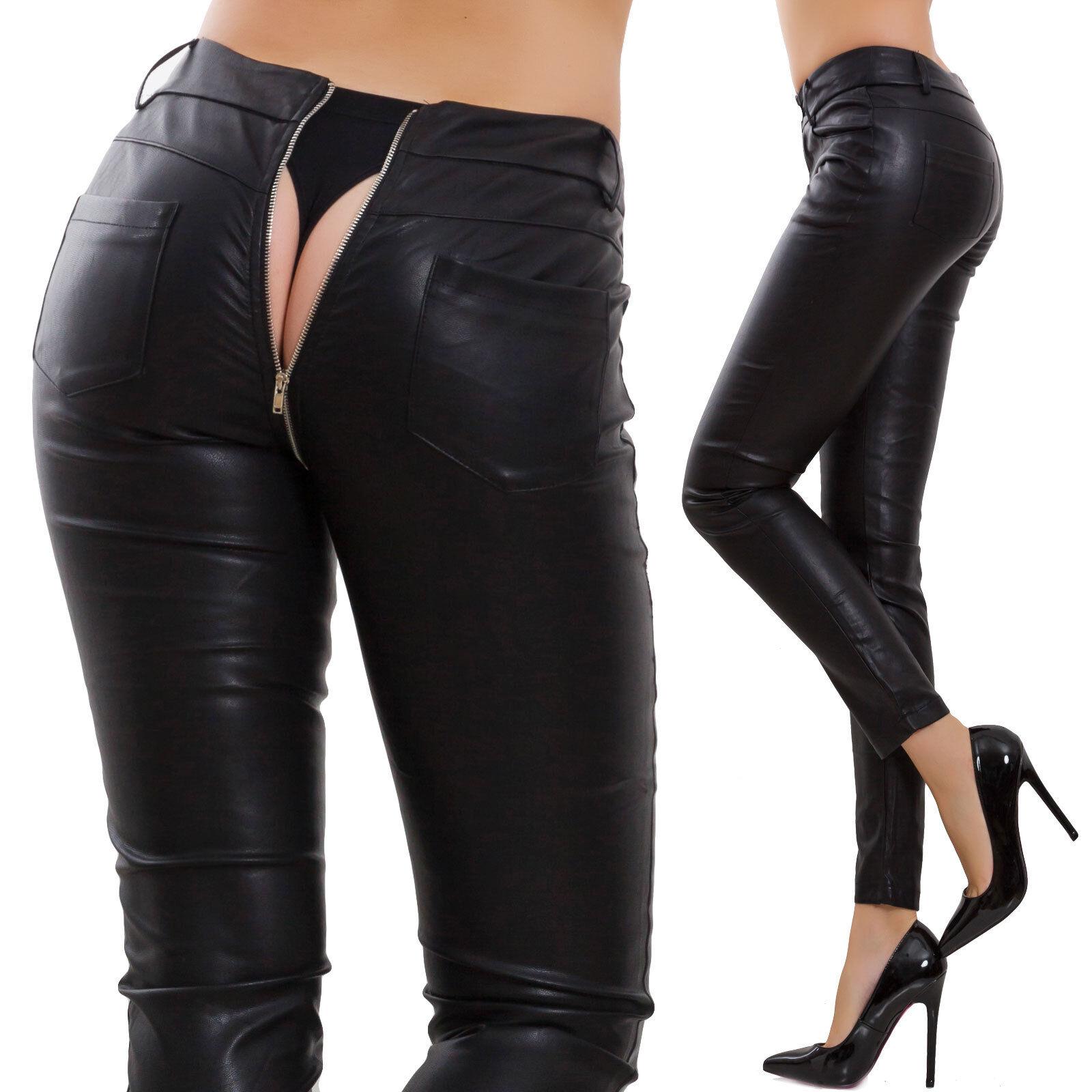 Pantalones de women ecopiel polipiel cremallera cremallera trasero