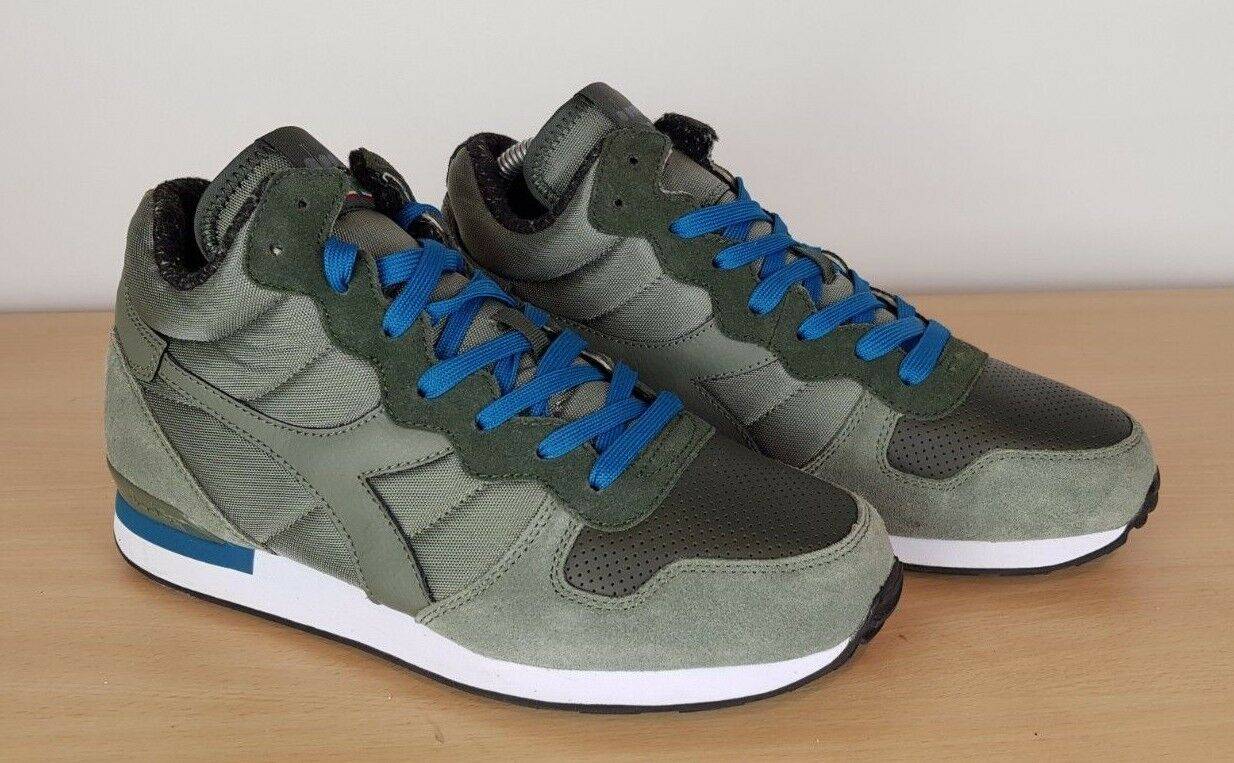 Diadora Green Textile & Suede Retro Sports Casuals Ankle Boots Trainers, UK 8