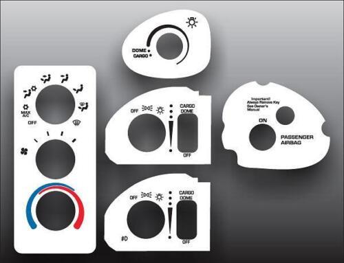 1998-2002 Dodge Ram No Mirror Defrost White Heater Control Switch Overlay HVAC