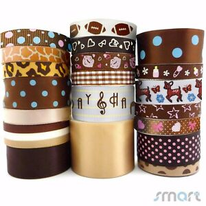 20Yards-Mixed-Satin-Grosgrain-Ribbon-Lot-20-Styles-3-8-034-1-5-034-Brown-Theme-Craft