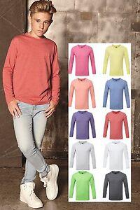 bleu-rose-vert-violet-rouge-Garcons-Enfants-T-shirt-manches-longues-T-shirt