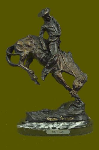 "Huge Sale Bronze Statu Outlaw by Frederic Remington Original size 10.5/""x9/"" Decor"