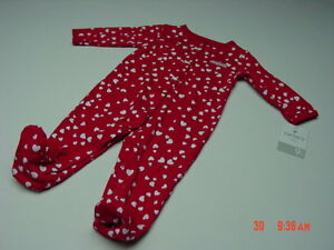 NWT Infant Girl One Piece Set Carter/'s Valentine Playsuit Hearts Sleeper Warm