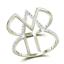 10-Quilates-Oro-Blanco-Diamante-Jaula-Anillo-20-Quilates-Zig-Zag-Banda-Abierto miniatura 4