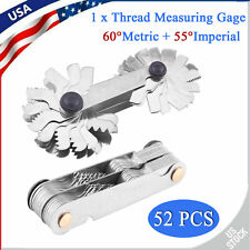 52Pcs Thread Plug Gage 60 and 55 Degree Screw Pitch Measuring Tool