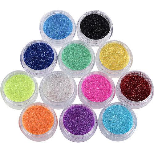 12 Box Nagel Kunst glitzer pulver staub für UV Gel Acryl Puder Pailletten Spitz