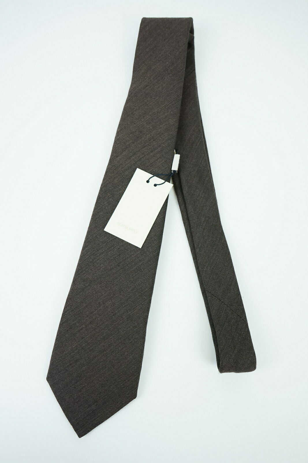 RRP SUITSUPPLY Plain Brown Mens One Size Wool Silk Blend Pointed Tie
