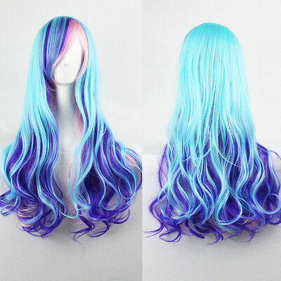 New Purple Full Wig Anime Long Curly Wavy Synthetic Hair For Party Cosplay Hot