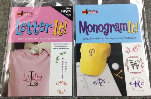 Amazing Designs LETTER IT /& MONOGRAM IT Embroidery Machine Software Combo