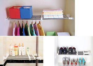 Extra Adjustable Storage Rack Shelf For Kitchen Cupboard Wardrobe Shelf Storage Ebay