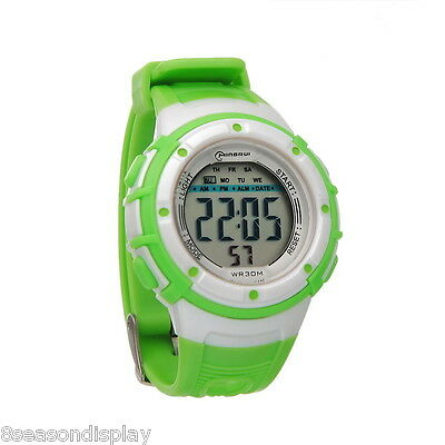 1PC Mingrui Green Womens Waterproof Digital Alarm Date Sport Wristwatch