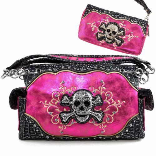 Justin West Concealed Carry Skull Shiny Glitter Crossbone Croc Shoulder Handbag
