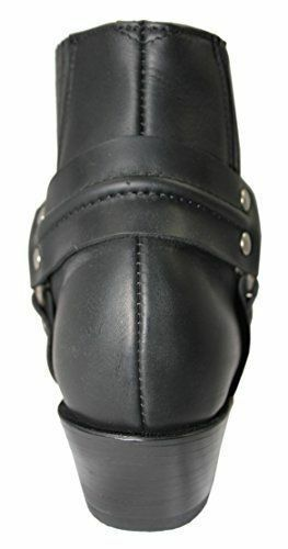 Grinders Harness Lo Black Unisex Western Real Biker Ankle Leather Classci Boots