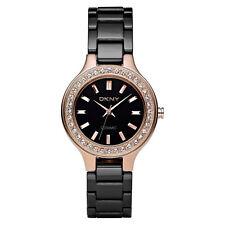 DKNY Uhr NY4981 CHAMBERS SMALL Rosegold Damen Keramik Schwarz Armbanduhr Quarz