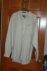 CHAPS-Ralph-Lauren-Mens-Tan-White-Plaid-Long-Sleeve-Button-Down-Dress-Shirt-XL