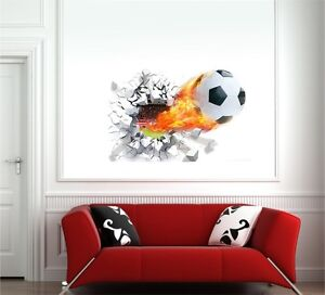 3d wandtattoo fu ball soccer wandsticker kinderzimmer deko wanddurchbruch loch ebay. Black Bedroom Furniture Sets. Home Design Ideas