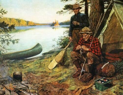 Fishermen Camp Poles canoe by Phillip Goodwin