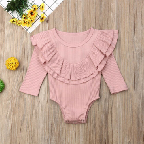 Newborn Toddler Baby Girl Boy Casual Ruffles Ruched Solid Romper Jumpsuit Outfit