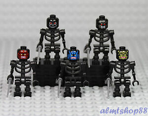 LEGO - Black Skeleton Minifigure Lot w/ Cutlass Warrior Skull Pirate Halloween