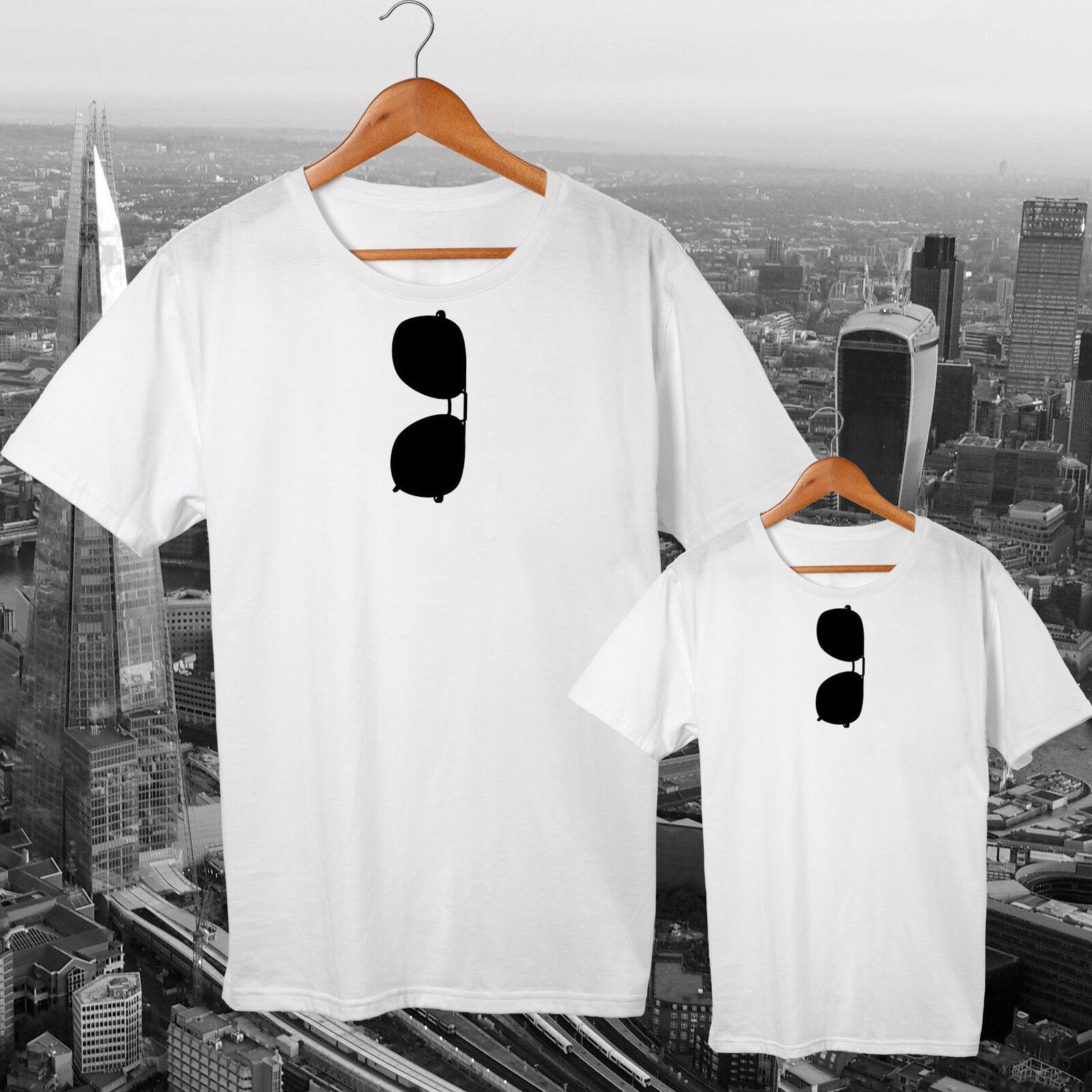 Père et fils correspondant à papa t-shirt Tee Homme Top Lunettes de soleil Ensemble Cadeau Homme Tee Kids fa5209