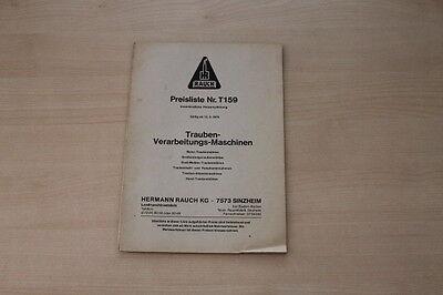 163011) Rauch Traubenverarbeitung - Preise & Extras - Prospekt 1974