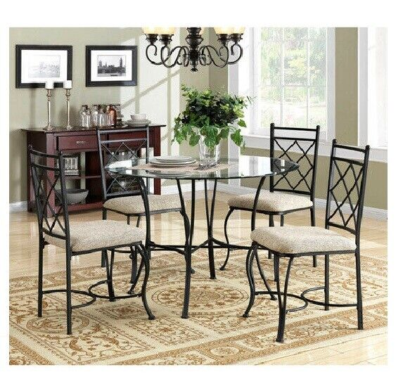 Dining Table Chair 5 Pcs Set Metal Glass Round Top Upholstered Seat For Sale Online Ebay