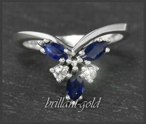 Antiker-Diamant-amp-Saphir-Damen-Cocktial-Ring-um-1925-vom-Goldschmied-585-Gold