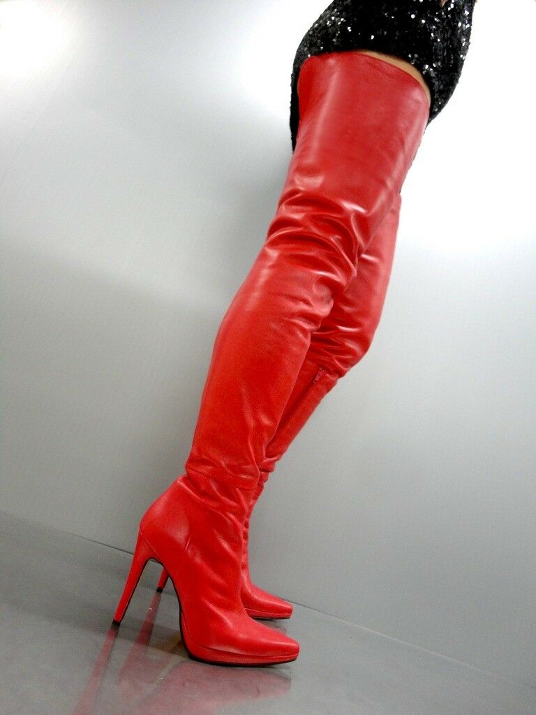 GIOHEL ITALY PLATFORM OVERKNEE SEXY BOOTS BOOTS SEXY STIEFEL STIVALI LEATHER ROSSO ROSSO 45 38ad06