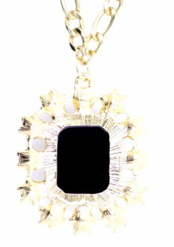 Gold Spinne auf schwarzem Stein Anhänger Halskette Halloween   Punk Goth