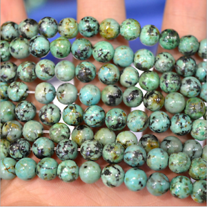 Natural-African-Turquoise-Gemstone-Round-Beads-15-5-039-039-4mm-6mm-8mm-10mm-12mm