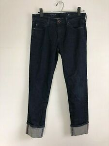 AG-Adriano-Goldschmied-Dark-Wash-The-Stevie-Cuff-Slim-Straight-Jeans-Size-27