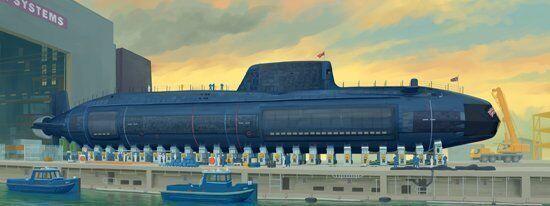 05909 Brittiska HMS Astute 1  44 skala Submarine Statisc modelllllerler båt trumpetare