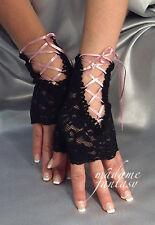 Sexy Nuevo lazada tie Fingerless Gloves-Negro & Rosa Bebé
