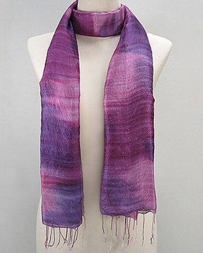 """Élégant New fine Thai Silk mixte violet rose écharpe 61/"""" long 29/"""" Large magnifique"""