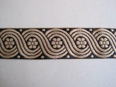 1 m Mittelalter Borte Scroll Schwarz Beige BO-J3-1205