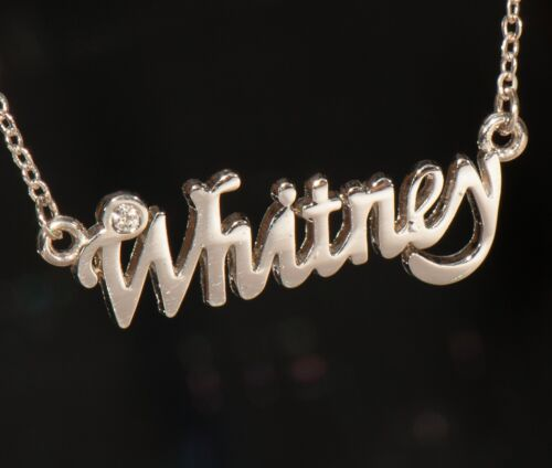 WHITNEY Name Necklace with Rhinestone Gold or Silver Tone