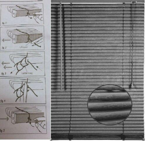Embossed Pattern PVC Blind Venetian Window Blinds Easy Fit Trim-able Steel Grey