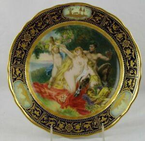 Royal-Vienna-Cabinet-Plate-Saytr-Faun-Cherubs-Encrusted-Gold-Raised-Paint-Cobalt