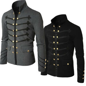Uomo-Autunno-Steampunk-Gothic-Rock-Giacca-Cardigan-Outwear-Cappotto